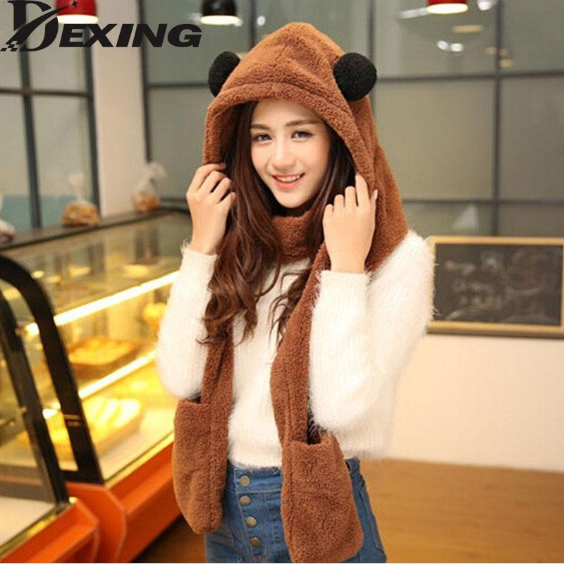 3a937931bb0 DexingWomens Panda Hat Fur Hood Scarf Mens Hat Ear Flaps Hand Pockets Plush  Winter Warm Cap With Long Scarf Mittens Gloves Baby Sun Hat Knit Hat From  Jutie