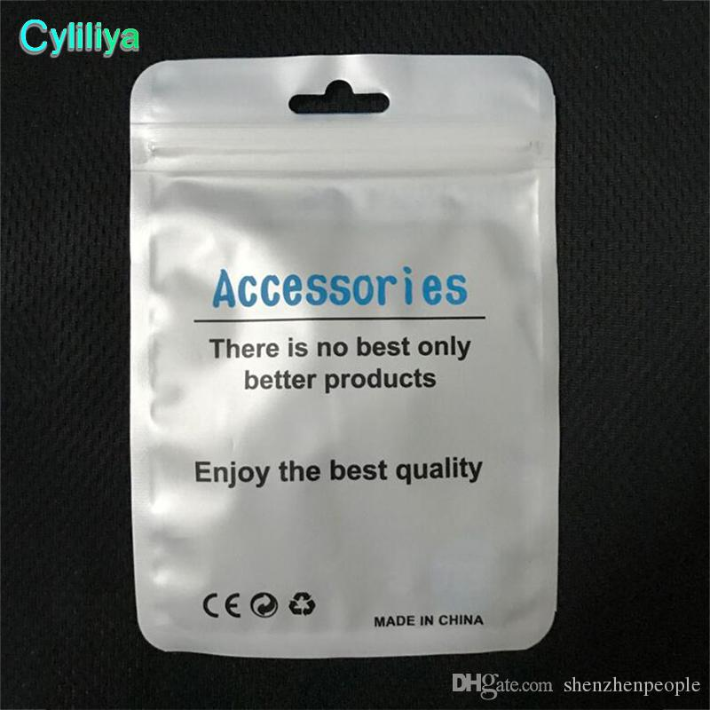 Universal Android Apple mobile phone accessories packaging zipper bag with hang hole for earphone data cable charger adapter