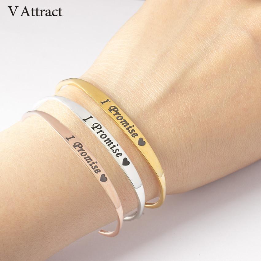 03855eefc43 Compre V Atrair Eu Prometo Coração Pulseiras Pulseira Mulheres Homens Jóias  2018 Pulseras Mujer Ouro Eu Sempre Te Amo Cuff Bracelet De Dracaena