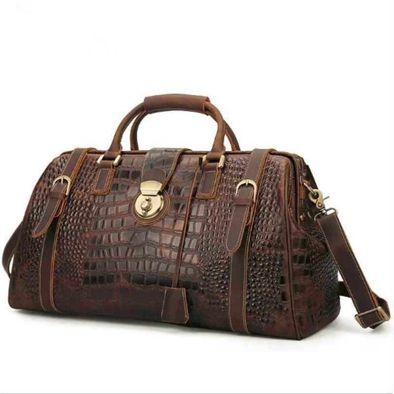 51bbeef659e9 2019 21 Inch Crocodile Pattern Handbag Cowhide Leather Duffle Bag Weekender  Travel Overnight Luggage Duffel Bag With Lock From Htoutdoor