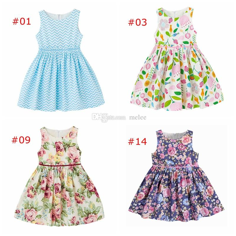 1de0e73717b3 2019 Summer Girls Vintage Floral Print Dresses Toddler Dress Chevron ...