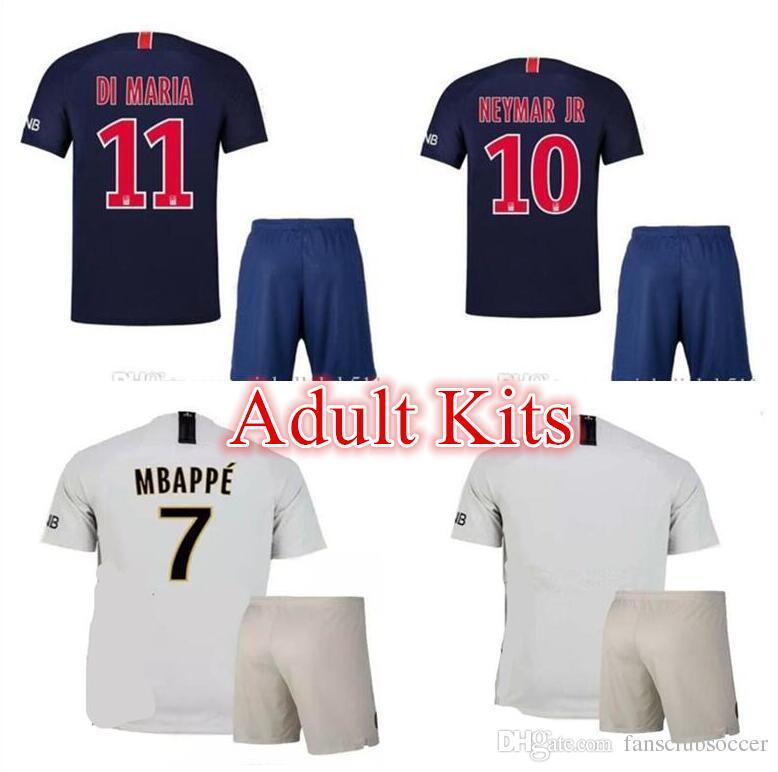 2018 2019 Adults Kits MBAPPE NEYMAR JR CAVANI HOME ADULT KIT Soccer ... 0b303b60d