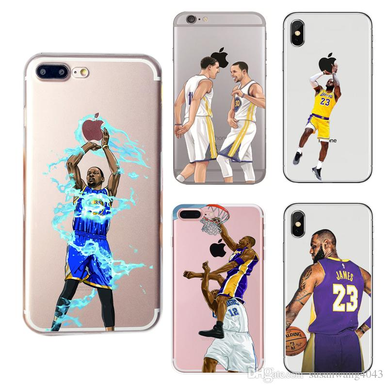 buy online 619c7 b7872 Curry Kobe Lebron Basketball Designer phone case for Iphone X XR XS Max 8 7  6 6s plus 5s S7 S8 S9 soft TPU cover painting Hull cases GSZ398