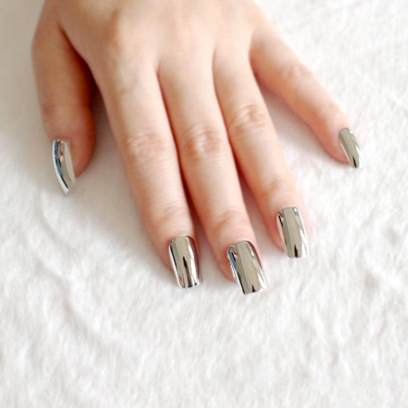 Moda Plata De Acrilico Falso Clavo Espejo De Metal Plana Unas Falsas Senora Full Wrap Nail Tips Diseno Salon Producto N02