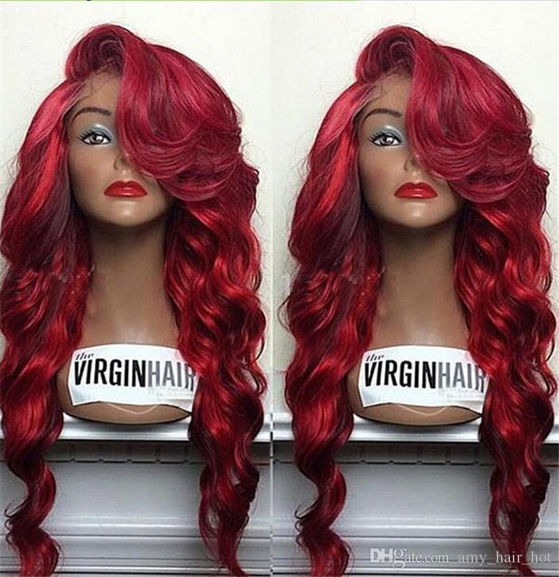 99J Color Lace Front Human Hair Wigs Side Part 9A Virgin Brazilian Human Hair Full Lace Wigs Red Color Lace Front Wigs