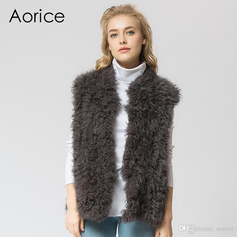 54a1ace91ac Pudi VR037 Knit Knitted 100% Real Wool Lamb Fur Vest/ Jacket ...