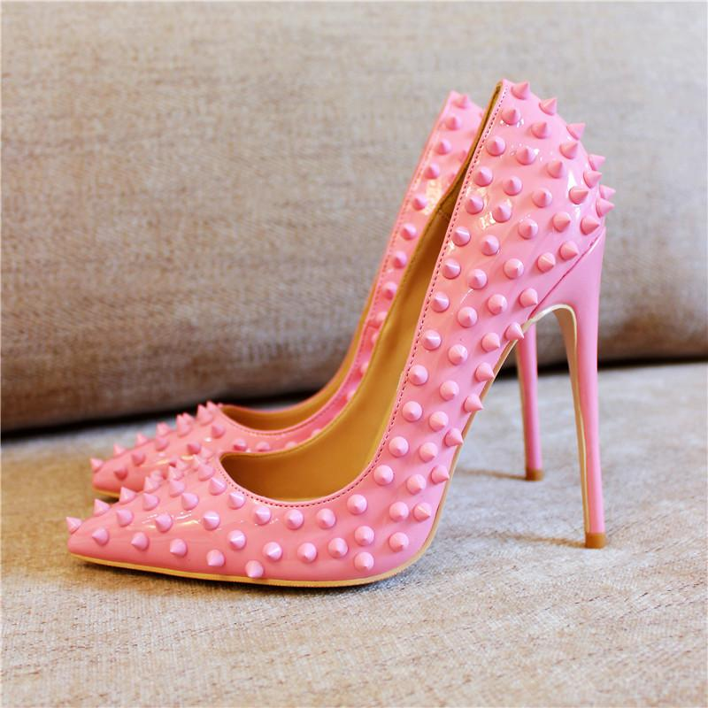 Sexy Rivets Pointed Toe High Heel Pumps Pink Red Patent Leather Party Shoes  Fashion Thin Heels Shallow Women Shoes Wedding Shoe Shoes For Men Womens  Shoes ...