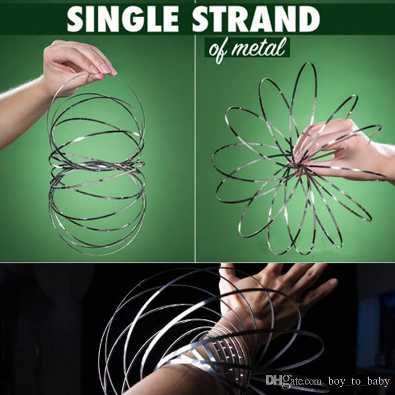 HOT Metal Toroflux Flow Ring Stainless Steel Wire Flowrings Magic Pattern Spring Deformation Rolling Bracelet Toys Xmax Gifts