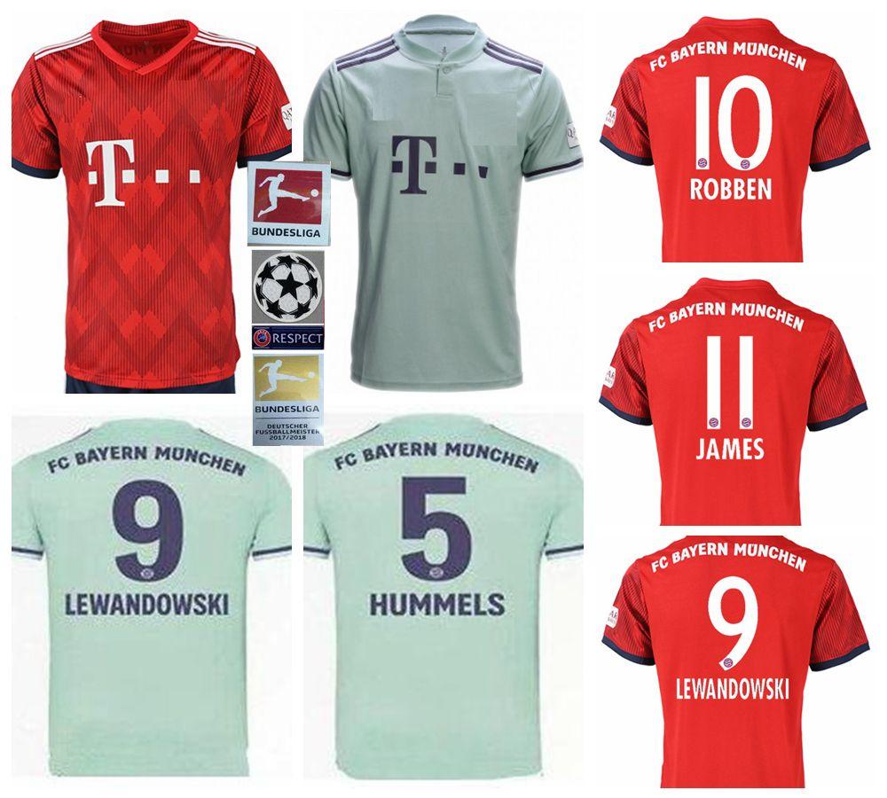 322c01d15dc 2019 2018 2019 Bayern Soccer Jerseys 11 JAMES KIMMICH RIBERY MARTINEZ  LEWANDOWSKI ROBBEN MULLER BOATENG Custom Home Away Football Shirt From  Tryones
