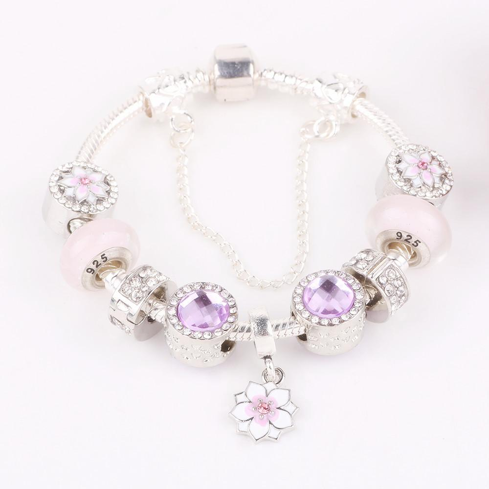 AIFEILI Hot New Cherry Blossom Pendant Beads Series Pink Glass Beads Safety Chain DIY Fit Bracelets Fashion Jewelry