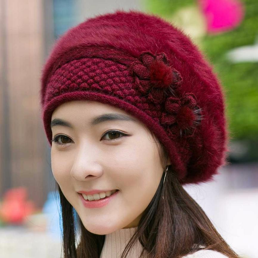 Wool Beret Womens Caps Floral Print Knitted Solid Woman Hat Winter  Accessories For Women Keep Warm Knitted Beret  810 UK 2019 From Fragmentt 0f497cee059