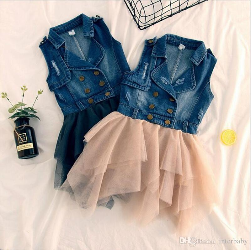 9f5d7d9113b 2019 Baby Girls Dress Toddler Denim Tank Sundress Dresses Children Lace  Tutu Dress Girls Spring Autumn Skirt Designer Kids Skirt YL455 From  Interbaby