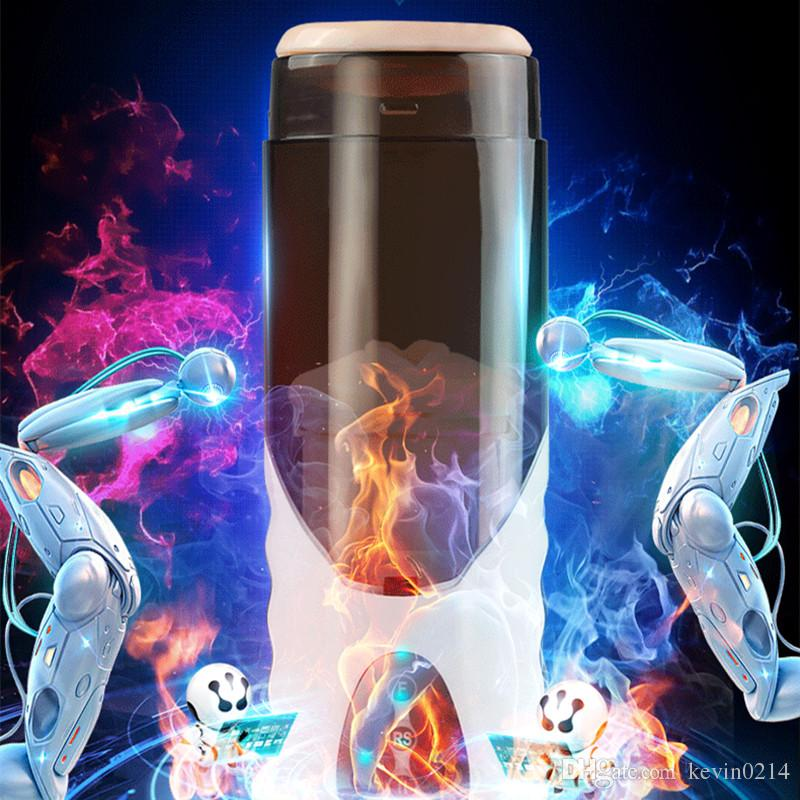 Male Automatic Masturbation Cup 10 Functions Smart Heating Voice Pock Pussy Adult Toys Artificial Vaginas Sex Products for Men B2-1-60