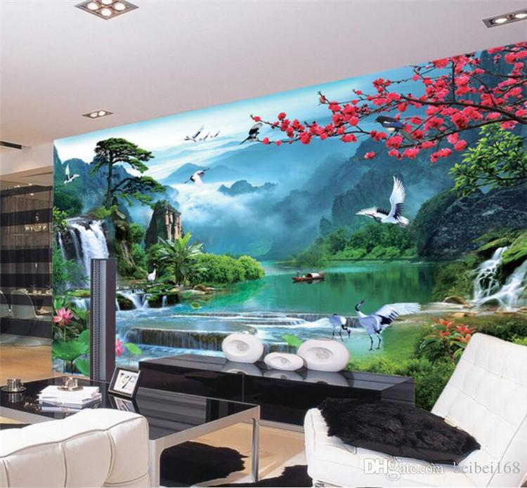 3d wall murals wallpaper for walls 3 d photo wallpaper Mountain river boat nature landscape decor picture Custom mural painting