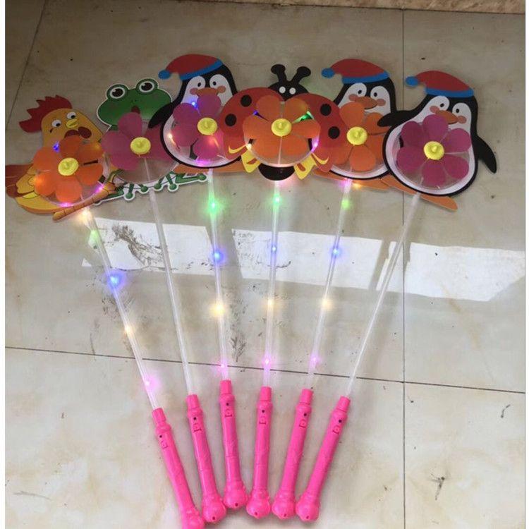 KIDS LED cartoon windmill toys colorful pinwheel night lights Flower duck dog pet children baby toy boys girls fan wheel party decoration