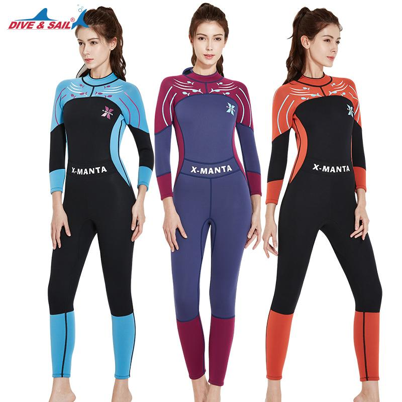 924a5bdb52a 2019 DIVE SAIL 3mm Women Diving Suit Long Sleeve Scuba Snorkeling Surfing  Swimsuits Rash Guards Girls UV Sunscreen Jumpsuit Swimwear From Yymq0404