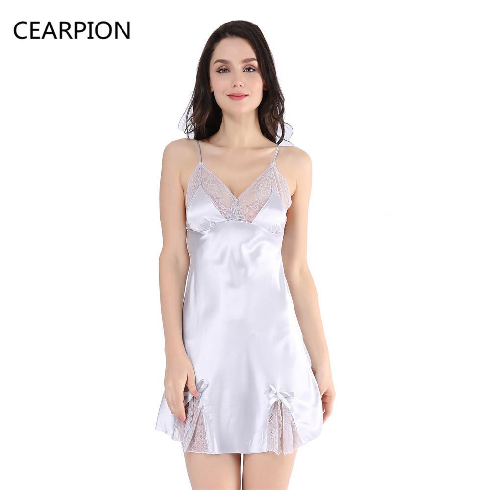 a6ed6a59ef 2019 CEARPION Lady Dual V Neck Cami Nightdress Spaghetti Strap Nightie  Nightgown Robe Women Sexy Short Sleepwear Lace Bow Nightwear From Beasy112,  ...