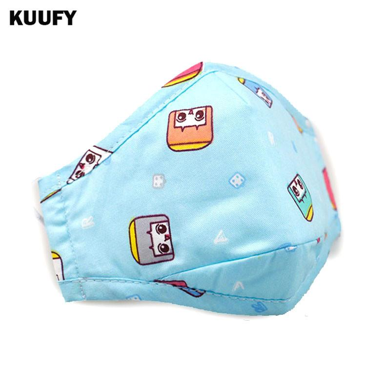 Al por mayor- KUUFY Pm2.5 Kids Cotton Anti Haze Mask + 20pcs filtro anti-polvo Filtro de carbón activado Boca-mufla Gripe Mascarillas para montar en la cara