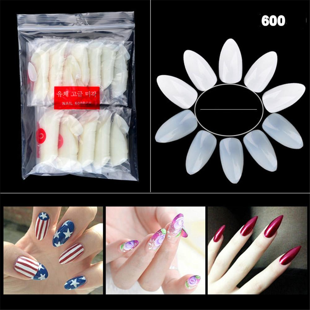 600 PCS Natural Colour Acrylic UV Gel French False Nail Tips Manicure DIY Art Salon Fake Stickers