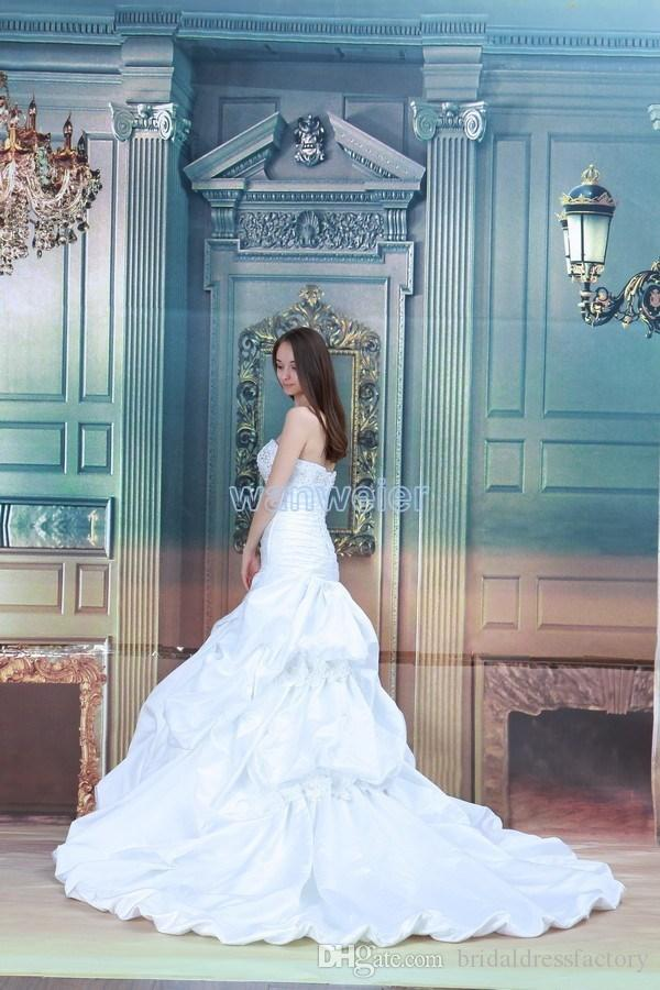 2018 new design hot seller anchovy white/ivory custommade size/color bridal dress with train mermaid wedding dress