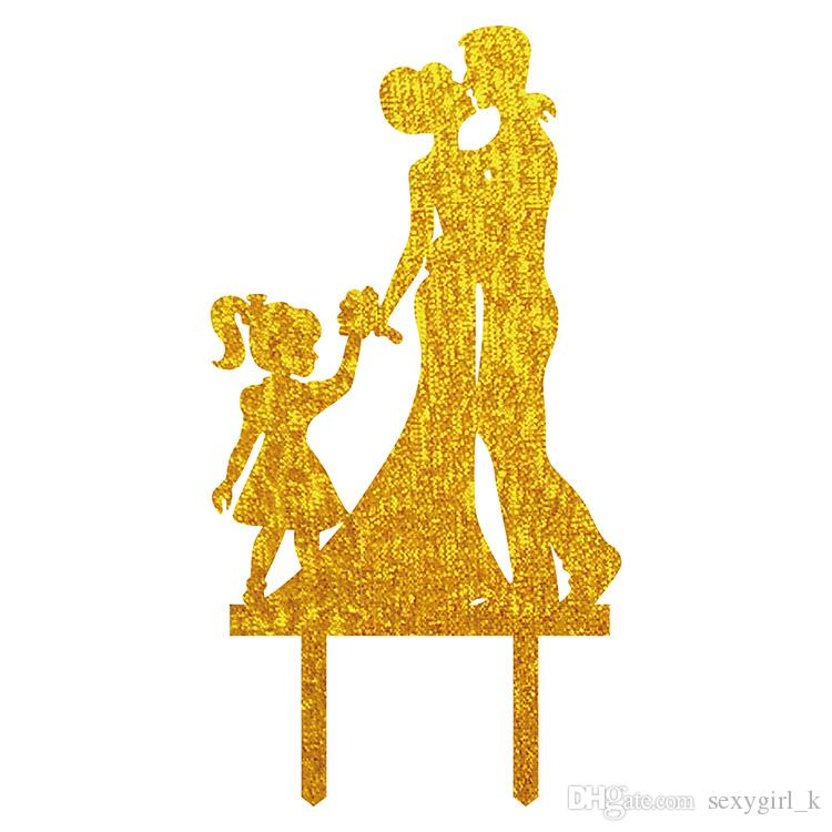 Couple With Child A Family Of Three Acrylic Wedding Cake Toppers ...