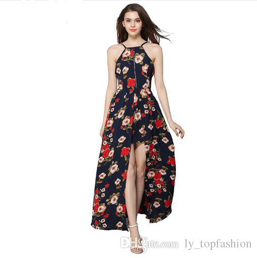 5b8a325bed Elegant Sexy Backless Print Chiffon Maxi Dress For Women Party Dresses  Summer 2018 Bohemian Beach Boho Long Dress DS090 Dresses Floral Short To Long  Dresses ...