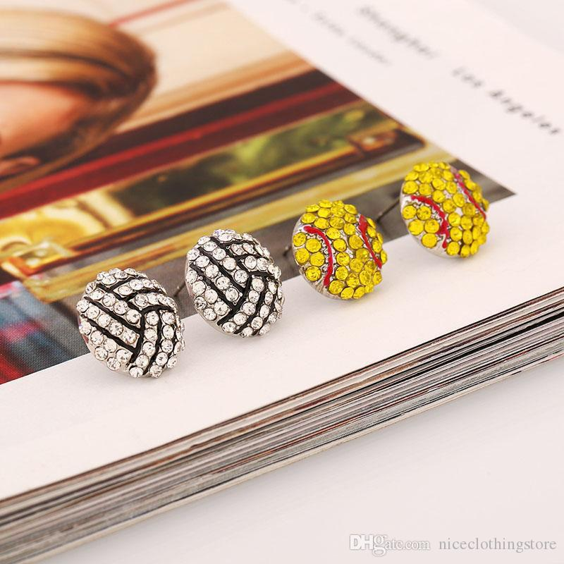 Fashion Sports competition ball stud Earrings crystal Rhinestone basketball baseball Rugby softball volleyball Earring For women Jewelry
