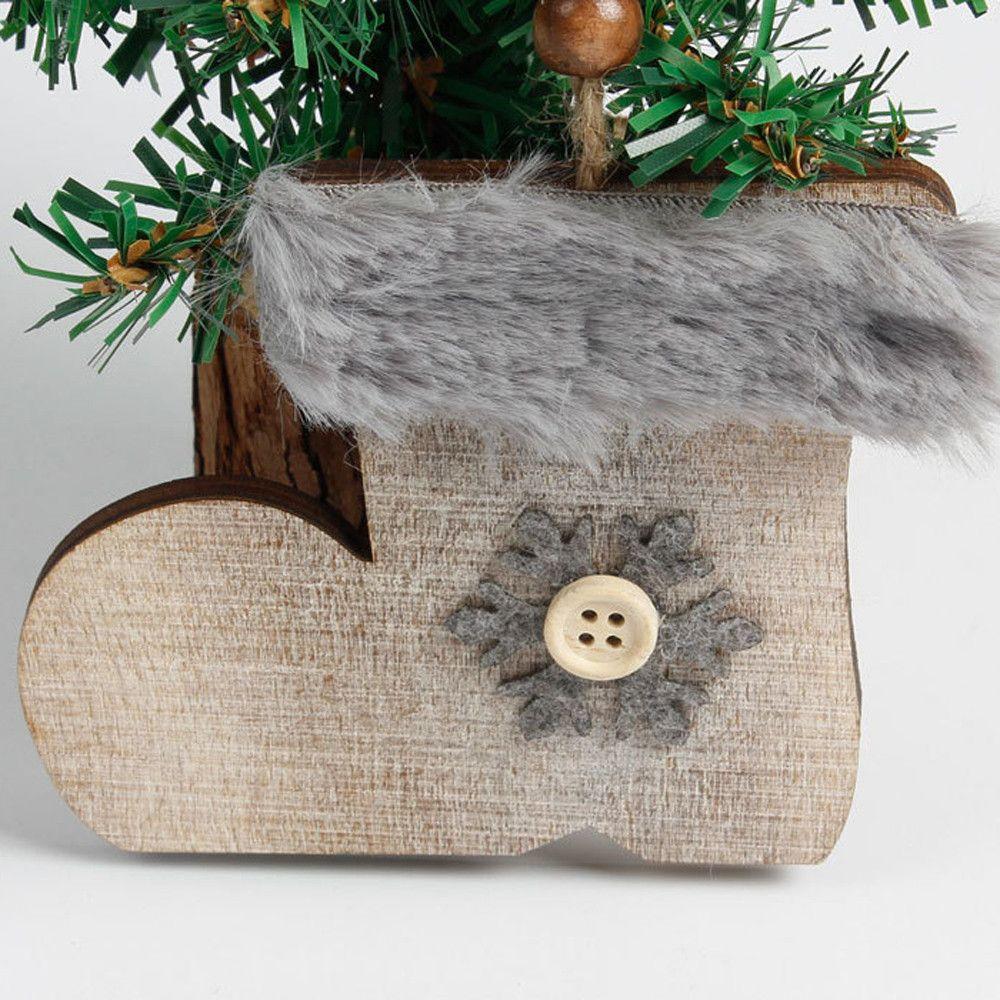 Snowflake Wood Embellishments Rustic Christmas Tree Hanging Ornament ...