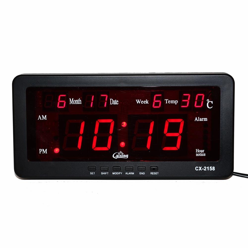 Electronic Alarm Clock Digital LED Calendar Watch with Week and Date Indoor  Temperature Hourly Chime Function LED Wall Clock