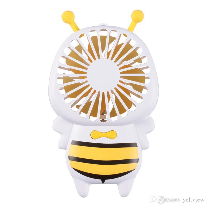Mini USB recargable Bee Fan portátil de mano escritorio ultrafino acondicionador de aire enfriador de refrigeración de 2 velocidades de velocidad silenciosa luz de la noche Fan Kids regalo