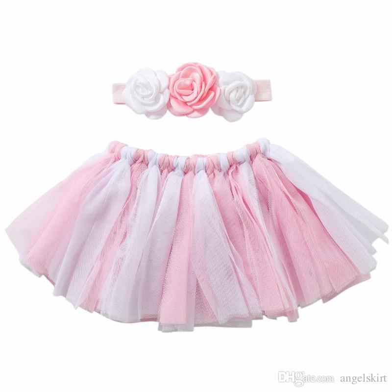32876ce7f Accesorios de fotografía de princesa recién nacida Vestido de ballet de  tutú rosa bebé Set 2pcs Falda de tutú conjunto de diadema