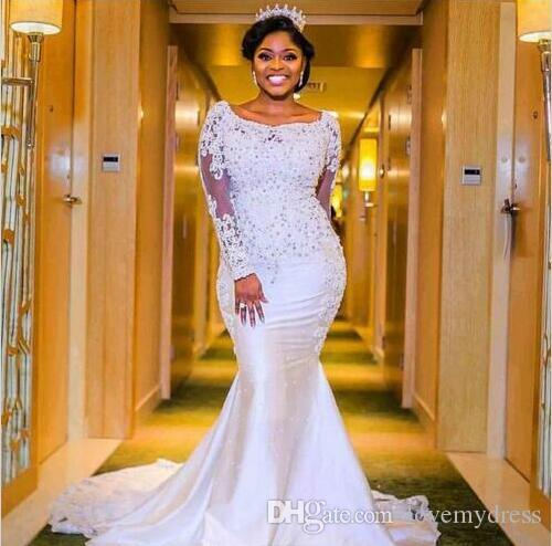 a86033e46271 Plus Size Mermaid Wedding Dress Lace Long Sleeves Jewel Neck Applique Court  Train Sequined Black Women Designer Beaded Bridal Gowns Unique Wedding  Dresses ...