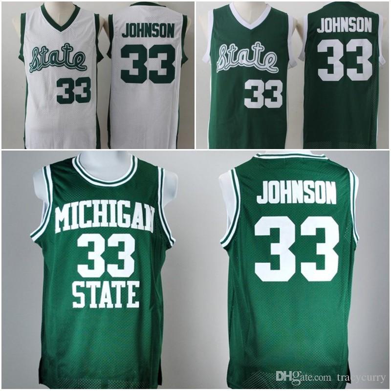7f732edb021 33 earvin johnson michigan state jersey cheap magic johnson green white college  jersey stitched retro basketball