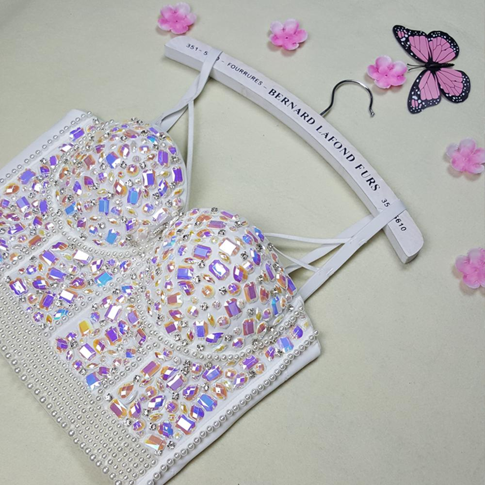 2019 New High Quality Handmade Sexy Women Crystal Rhinestone Embroidered  Bra Top Jeweled Beaded Bra Pearl Bridal Bustier Cropped Top From Waxeer f4ed08bcbcb6