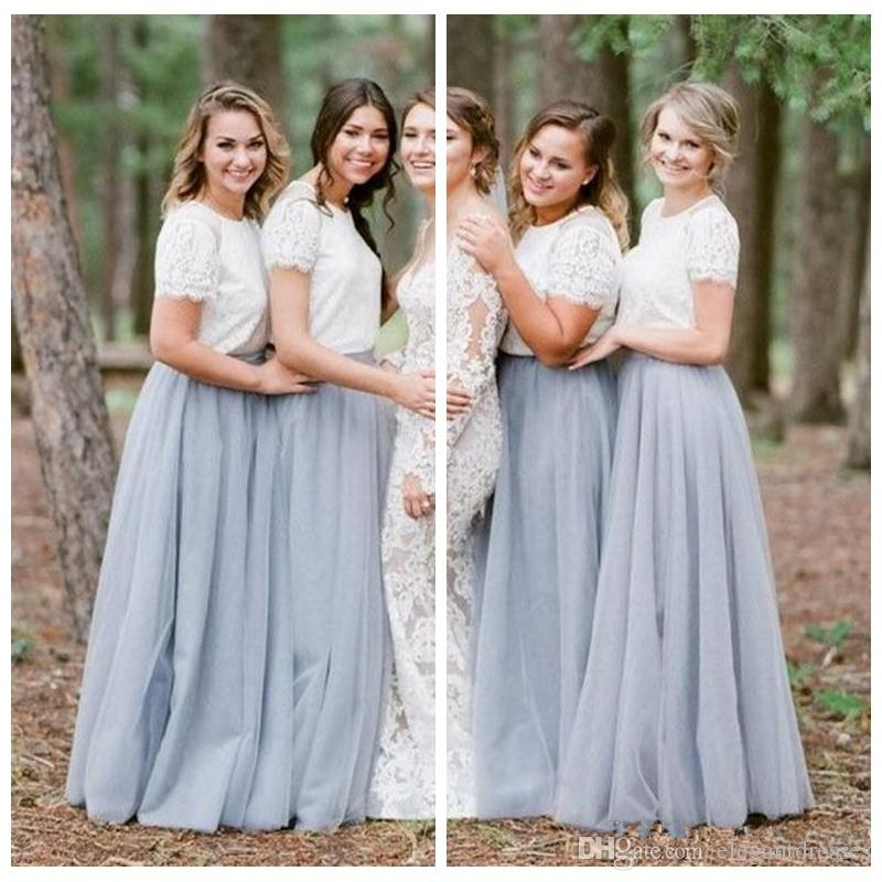 26b8659cdc7 O Neck Lace Top A Line Long Bridesmaids Dresses Tulle Skirt Formal Floor  Length Custom Vestidos De Bridesmaid Honor Of Maid Cheap Designer Gown  Dress Long ...