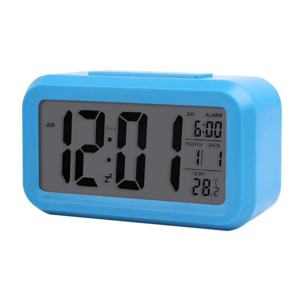 온도 센서가 장착 된 스마트 센서 야간 조명 디지털 알람 시계 달력, 무음 책상 탁상 시계 침대 옆 일어나기 스누즈