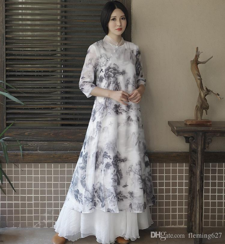 046dc6a3e09ab Ancient China women s black White Retro Chinese style ink painting  cheongsam dress Unique clothing female Zen tea Bar in summer