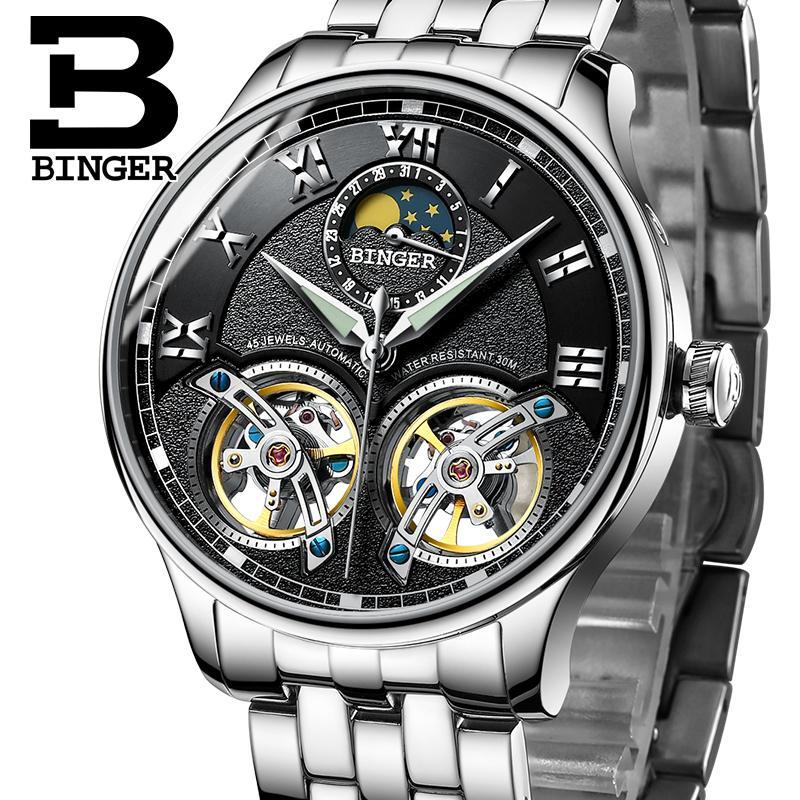 Купить часы binger швейцарские прямоугольные часы наручные мужские