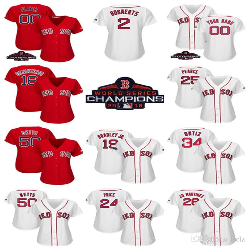 2019 Womens Custom Boston Red Sox 2018 World Series Champions Patch Mookie  Betts David Ortiz Steve Pearce Joe Kelly Redsox Baseball Jersey From Fsclz 7f0bff24ef0