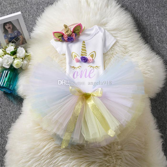 Baby girls unicorn outfits infant One romper+Bow TUTU lace skirts+headdress Boutique newborn birthday suits Kids Clothing sets H036