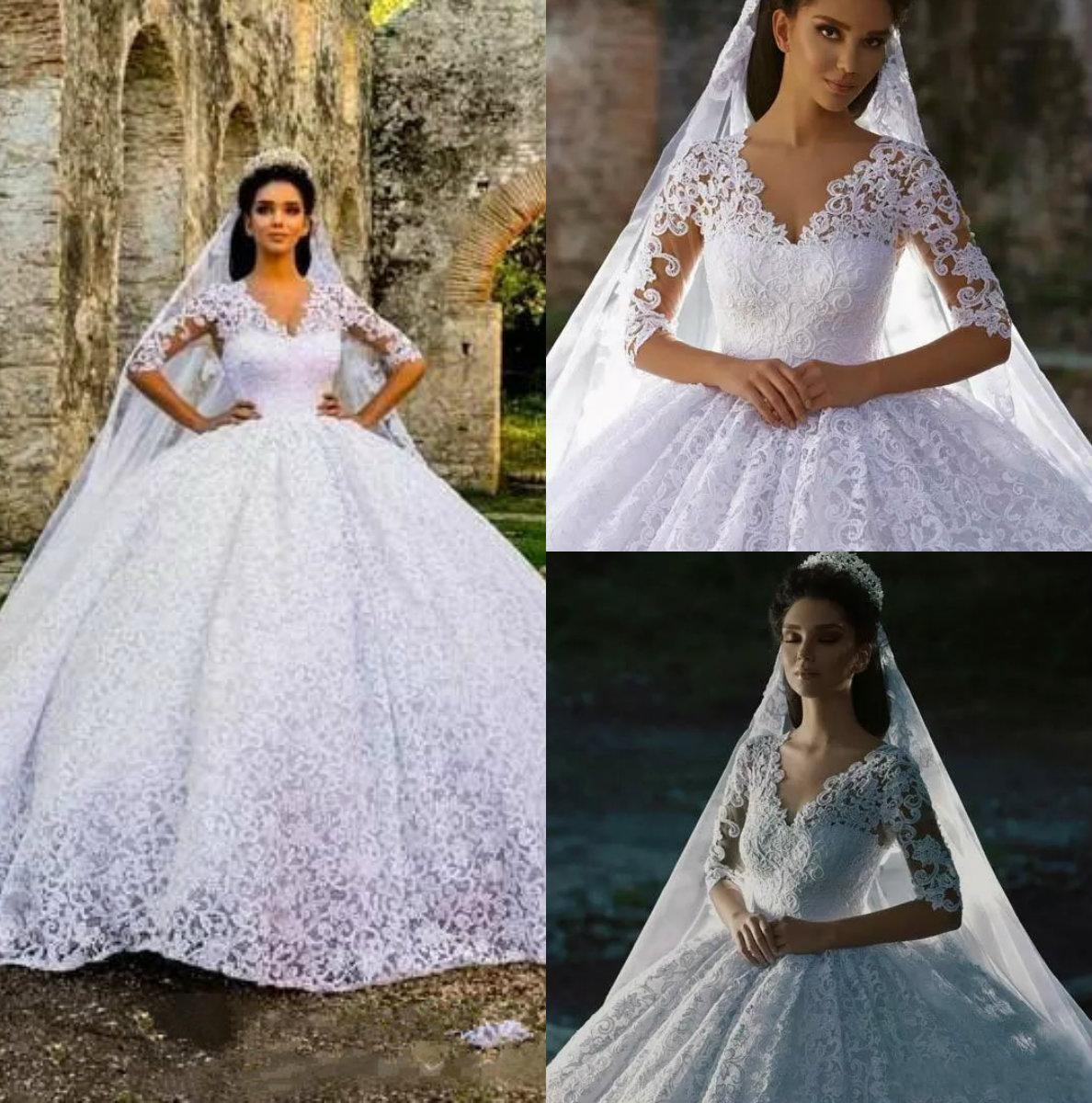 b2e15ac9f4e 2018 Cheap Arabic Luxury Ball Gown Wedding Dresses V Neck Half Sleeves Full  Lace Court Train Puffy Plus Size Formal Bridal Ball Gowns Wedding Ball Gowns  ...