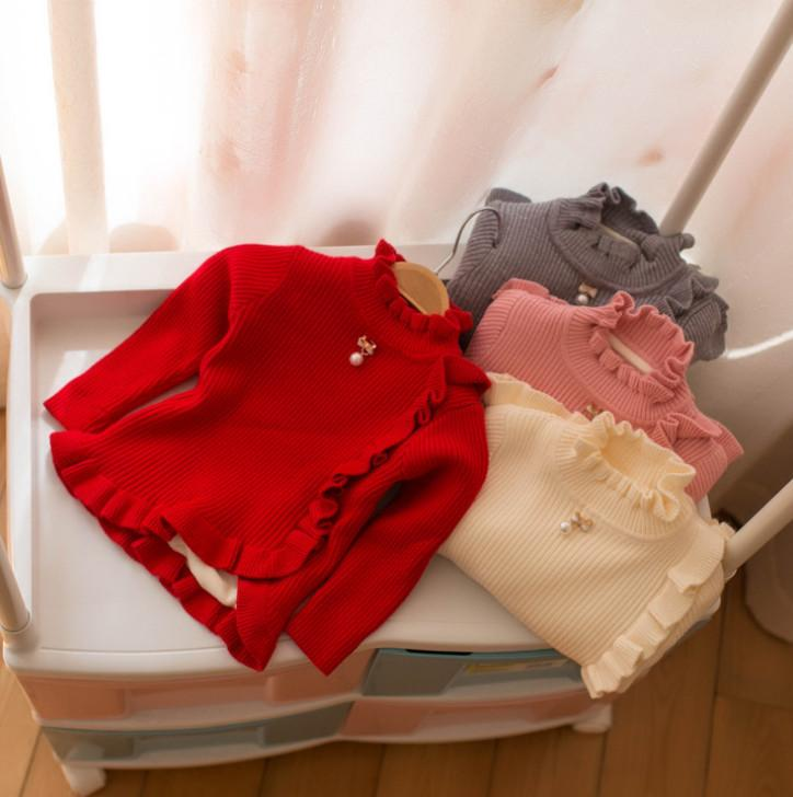 4b8185461 Sweet Baby Girls Sweater Kids Pearls Bows Ruffle Collar Long Sleeve ...