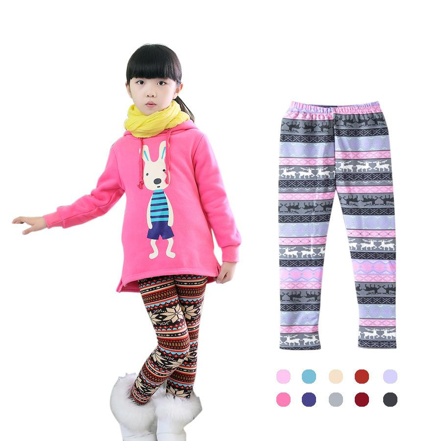 ce7ff9c56 2018 kids girls christmas snowflake reindeer leggings footless thick pants  cashmere milk silk winter warm print