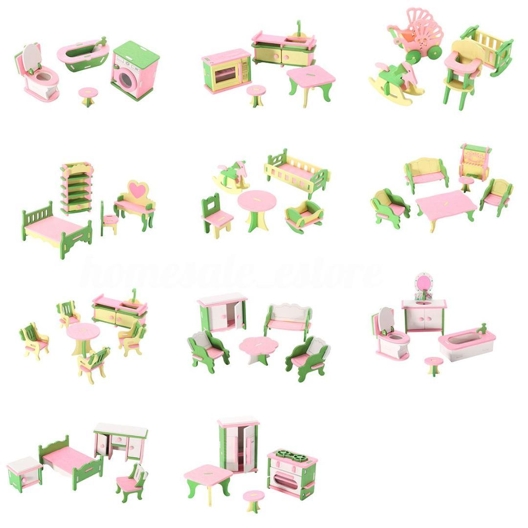 Baby Wooden Furniture Dolls House Miniature Child Play Toys Gifts