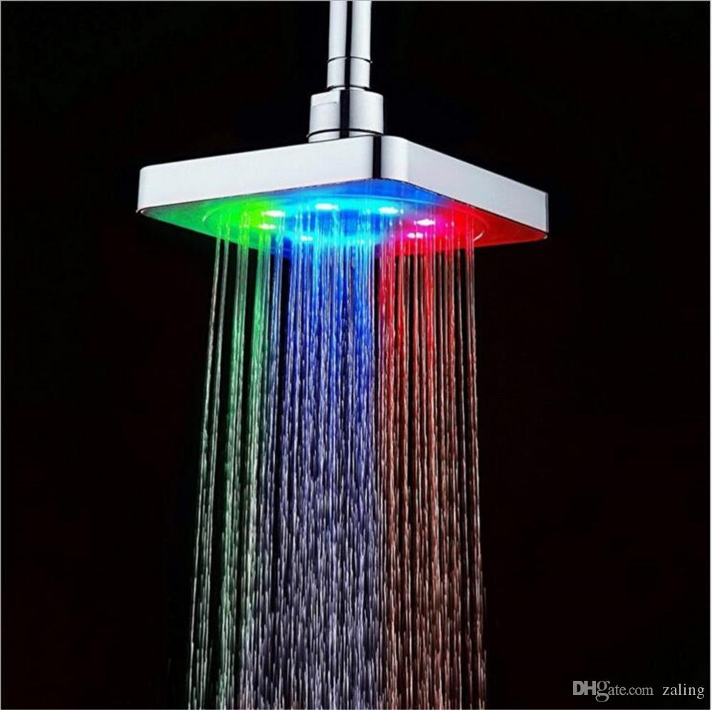 2018 6 Led Light Square Shower Head Changing Bath Sprinkler Water ...