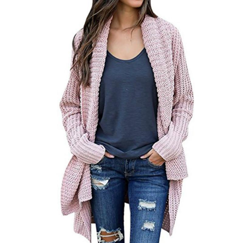2019 Knit Open Stitch Women Cardigans Long Sleeve Loose Sweaters Casual Pockets  Autumn Winter Knitted Sweaters Female Warm Tops GV088 From Watch2013 487f990e5