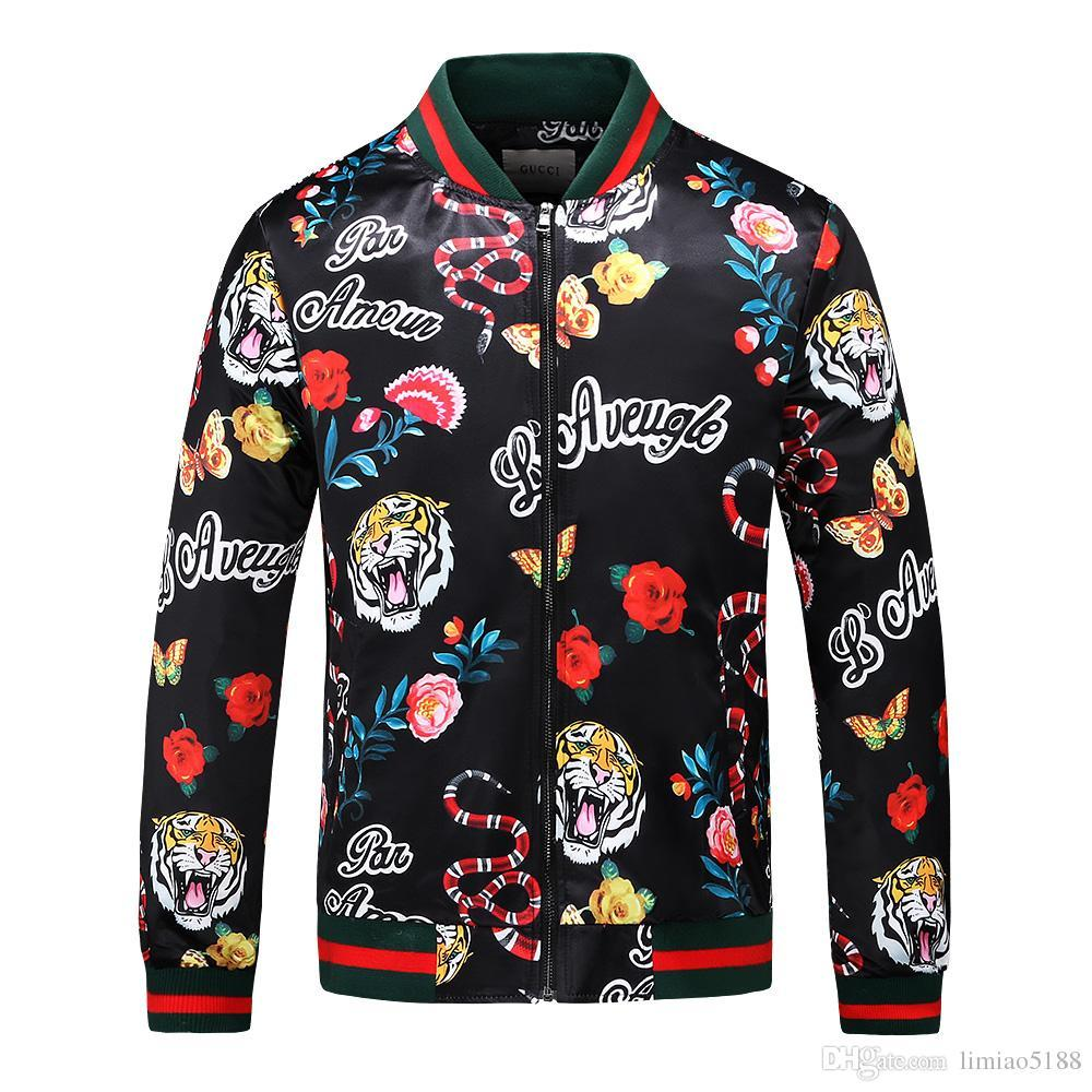 782226497b7dc8 Beliebte 2018 Herbst Herren Jacke Länge Ärmel Hoodies Sweatshirts Print  Tiger Schlange Blume Hoody mit Kapuze Herren Reißverschluss Outwear Mantel  08N16
