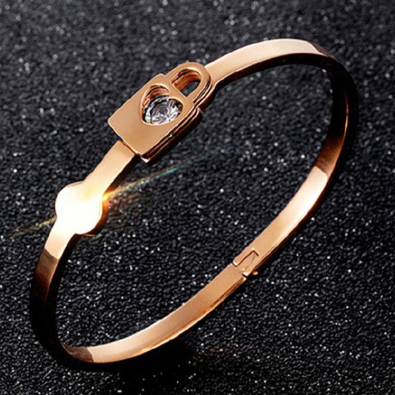 db64bd30a9700 Fashion simple titanium steel girl love lock Bracelet fine rose gold  Bracelet Jewelry for women gifts