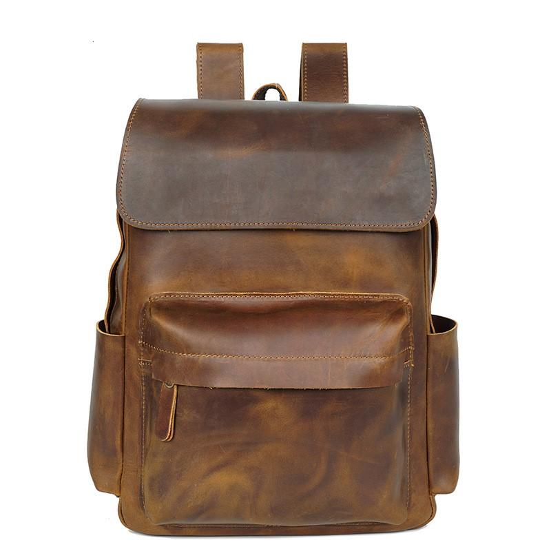 a1892d2283 Compre Couro Genuíno Vintage Men Backpack Moda Crazy Horse Couro ...