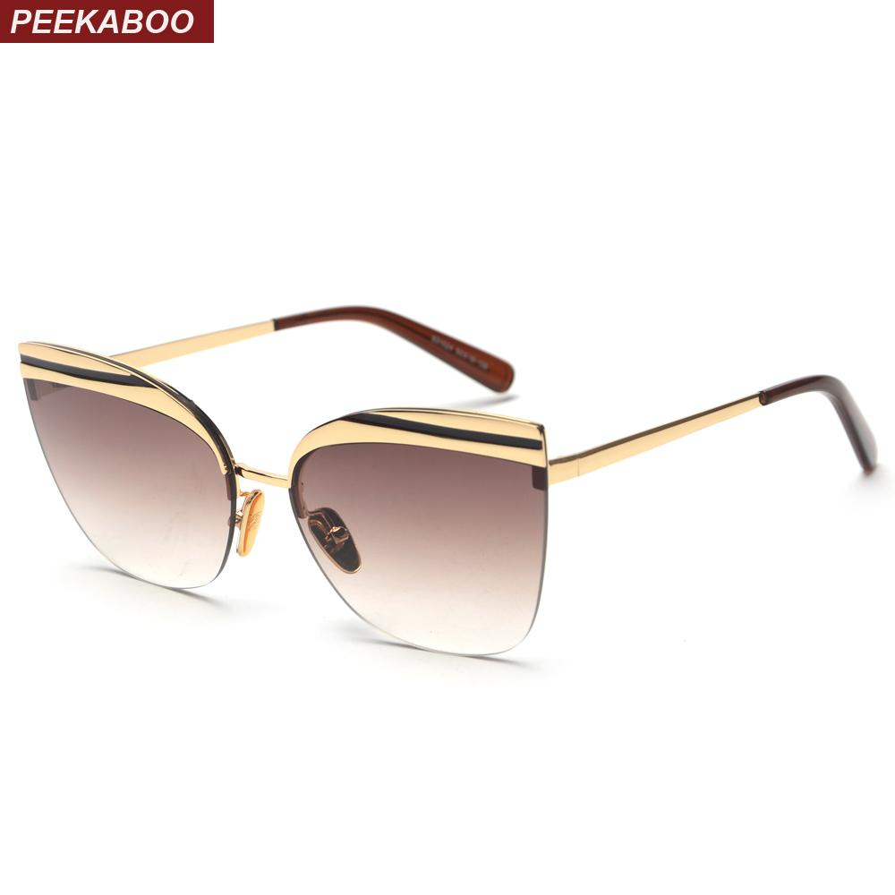 1f3f9368be Wholesale Half Frame Rimless Cat Eye Sunglasses Women 2018 Brown High  Quality Designer Sun Glasses Women Gift Summer Uv400 Online with   26.2 Piece on ...